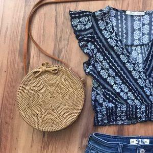 Handbags - Circle/Round Straw Purse